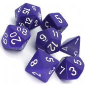 Purple & White Opaque Polyhedral 7 Dice Set